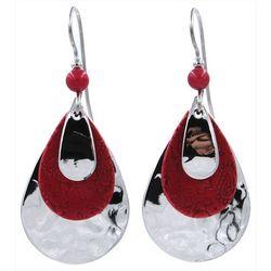 Red & Silver Tone Teardrop Earrings