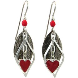 Silver Forest Red Heart Silver Tone Earrings