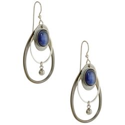 Silver Forest Blue Stone Double Teardrop Earrings