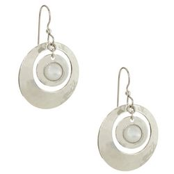 Silver Forest Hammered Ring White Center Earrings