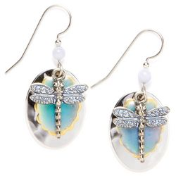 Silver Forest Dragonfly Drop Earrings
