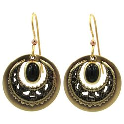 Silver Forest Black Stone Gold Tone Filigree Round Earrings