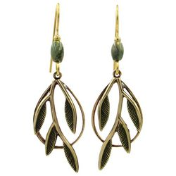 Silver Forest Green Gold Tone Leaf Branch Earrings