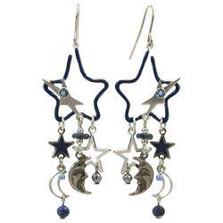 Silver Forest Blue Multi Open Star Dangle Earrings