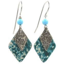 Silver Forest Turquoise Diamond Drop Earrings