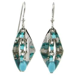 Silver Forest Turquoise Beaded Diamond Drop Earrings