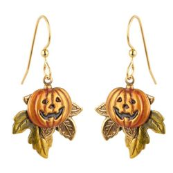 Silver Forest Textured Jack O' Lantern Earrings