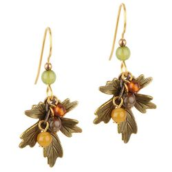 Silver Forest Textured Leaf Beaded Earrings