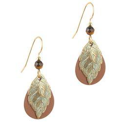 Silver Forest Textured Leaflet Teardrop Earrings
