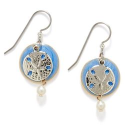 Silver Forest Sand Dollar Pearlescent Earrings