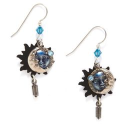 Silver Forest Blue Eclipse Layered Earrings