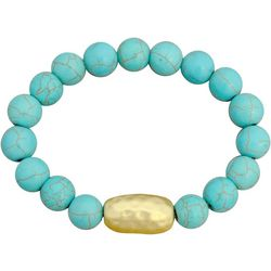 FROM THE HEART Turquoise Marble Beaded Stretch Bracelet