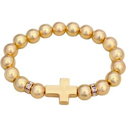 FROM THE HEART Gold Tone Cross Beaded Bracelet