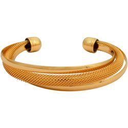 FROM THE HEART Gold Tone Mesh Twist Cuff Bracelet