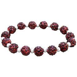 FROM THE HEART Garnet Red Pave Rhinestone Stretch Bracelet