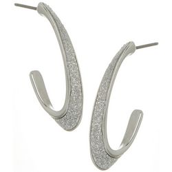 Bay Studio Glitter C Hoop Post Top Earrings