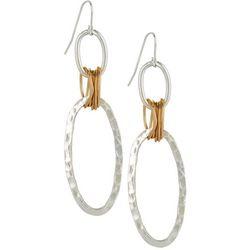 Bay Studio Two Tone Hammered Ring Drop Earrings
