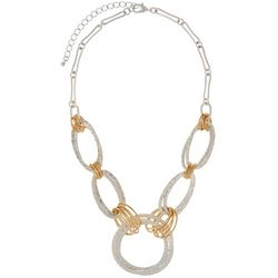 Bay Studio Two Tone Hammered Oepn Link Necklace
