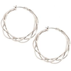 Silver Tone Braided Hoop Earrings