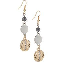 Bay Studio Tri Tone Multi Disc Dangle Earrings