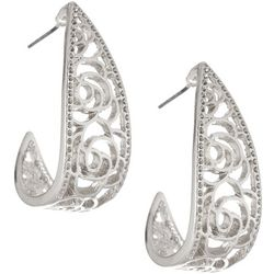 Bay Studio Silver Tone Flower Cutout Hoop Earrings