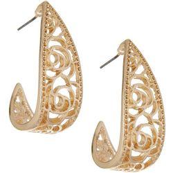 Bay Studio Gold Tone Flower Cutout Hoop Earrings