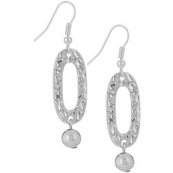 Bay Studio Silver Tone Hammered Oval Drop Earrings