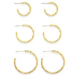 Bay Studio Textured Trio Open Hoop Earring Set