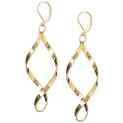 Gold Tone Twisted Drop Earrings