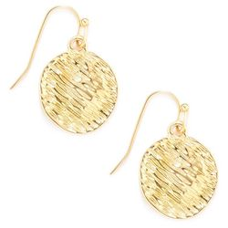 Gold Tone Textured Disc Earrings
