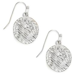 Bay Studio Silver Tone Textured Disc Drop Earrings