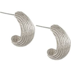Bay Studio Silver Tone Thick Half Hoop Earrings