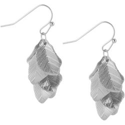 Bay Studio Silver Tone Leaf Cluster Drop Earrings