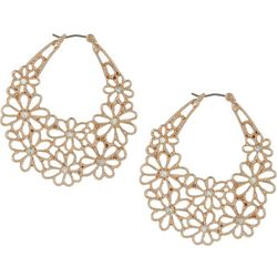 Bay Studio Rose Gold Tone Flower Cutout Hoop Earrings
