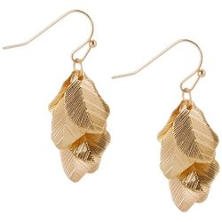 Bay Studio Gold Tone Cluster Leaf Dangle Earrings