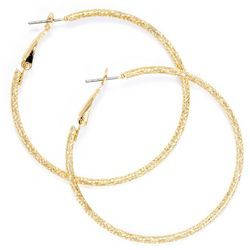 Large Gold Tone Etched Clutch Hoop Earrings