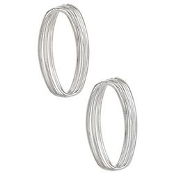 Bay Studio Twisted Silver Tone Oval Post Earrings