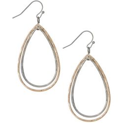 Bay Studio Rose & Silver Tone Teardrop Earrings