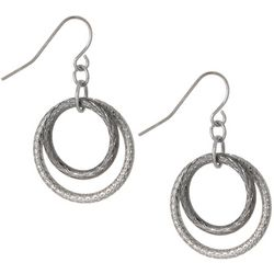 Bay Studio Two Tone Double Ring Drop Earrings