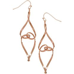 Bay Studio Rose Tone Abstract Twist Drop Earrings