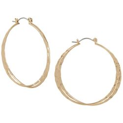 Bay Studio 2 Row Gold Tone Hammered Hoop Earrings
