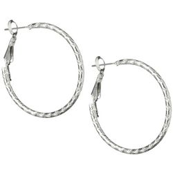 Bay Studio Silver Tone Etched Hoop Earrings