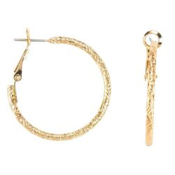 Bay Studio Gold Tone Clutchless Hoop Earrings