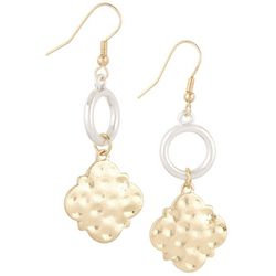 Bay Studio Two Tone Hammered Disc Ring Drop Earrings