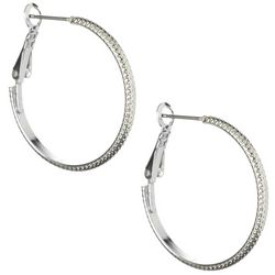 Clutchless Silver Tone Textured Hoop Earrings