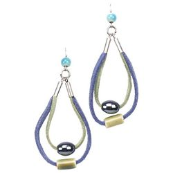 Bay Studio Blue Suede Teardrop Hoop Green Bead Earrings