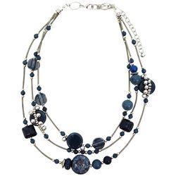 Bay Studio 3 Row Blue Multi Bead Necklace