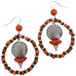 Bay Studio Orange Multi Bead Hoop Dangle Earrings