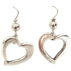 Bay Studio Silver Tone Open Heart Dangle Earrings
