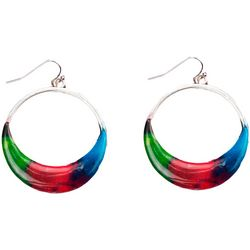 Bay Studio Multi Enamel Hoop drop Earrings